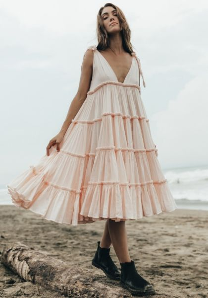 Ramie Big Frill Dress Peach