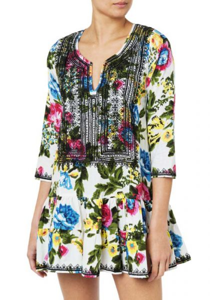 Floral Print 3/4 Sleeve Dress