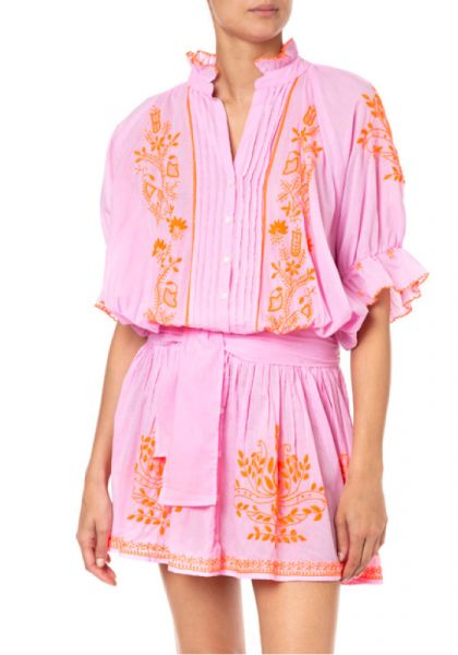 Blouson Dress Lotus Embroidery