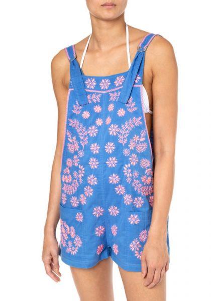 Juliet Dunn Cotton Dungareenies Lotus Embroidery Neon Peach