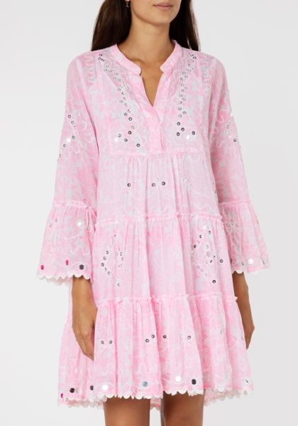 Juliet Dunn Flared Sleeve Dress Pink