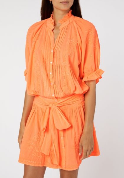 Juliet Dunn Neon Orange Blouson Dress