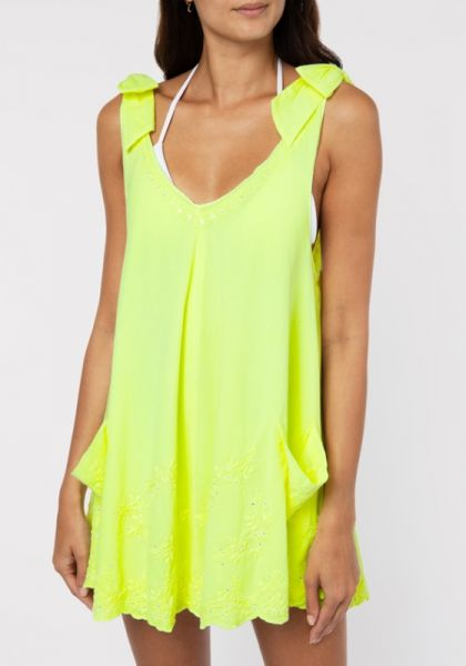 Juliet Dunn Neon Yellow Bow Tie Dress
