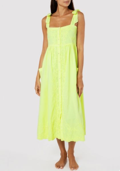 Juliet Dunn Neon Yellow Shoulder Tie Dress