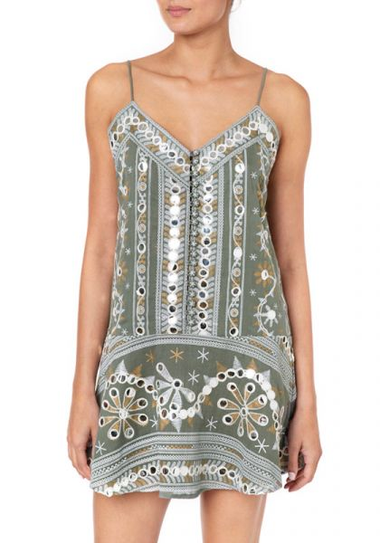Juliet Dunn Nomad Print Slip Dress