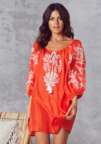 Silk Boho Blouse Orange