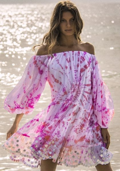 Juliet Dunn Spiral Tie Dye Off Shoulder Dress