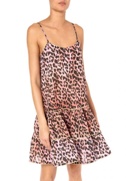 Juliet Dunn Leopard Strappy Dress Red