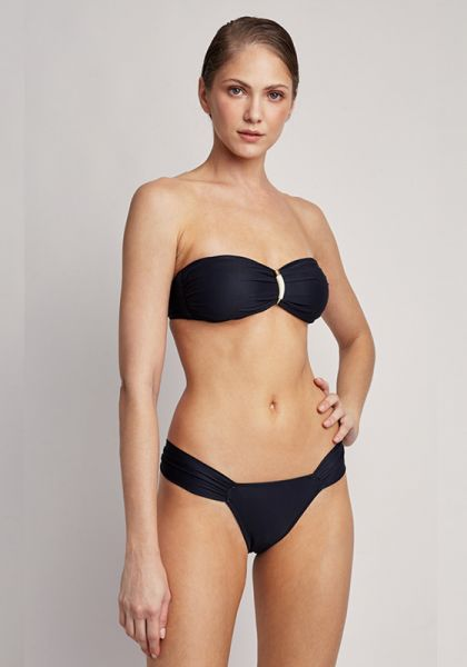 Lenny Niemeyer Embellished Bandeau Draped Bikini Black