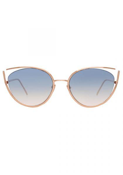 Rose Gold Navy Grad Cat Eye Sunglasses