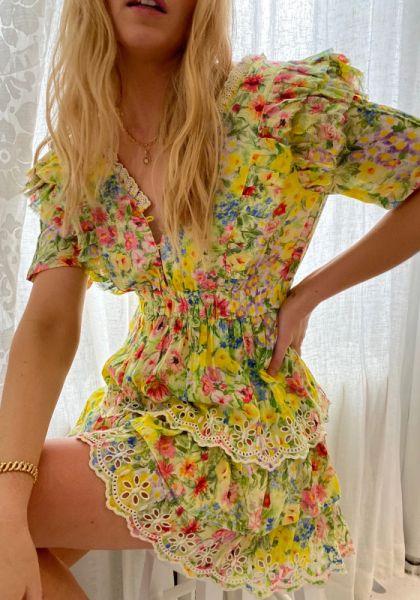 LoveShackFancy Aldina Dress Rainbow