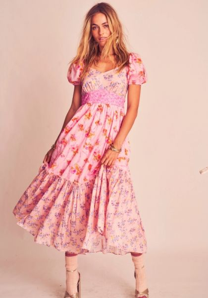 LoveShackFancy Angie Dress Exploded Pink