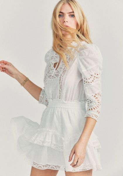 LoveShackFancy Isidore Dress White