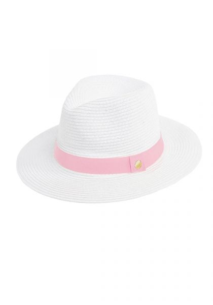 Fedora Hat White/Rose