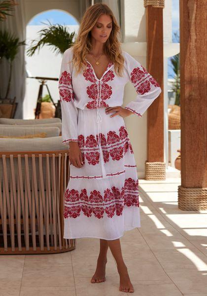 Melissa Odabash Lela Dress White/Red