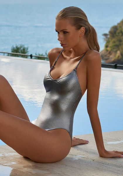 Melissa Odabash Bora Bora Swimsuit Silver