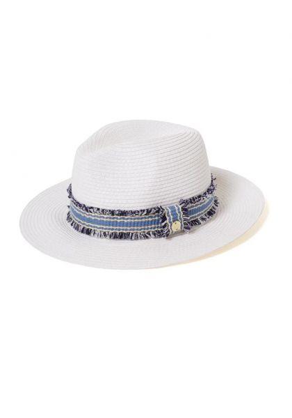 Fedora Hat White/Blue
