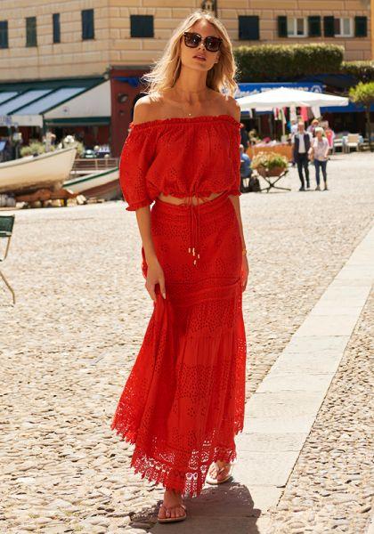 Melissa Odabash Francesca Top Red