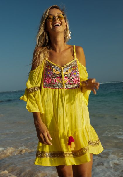 Miss June Shimmy Dress Yellow