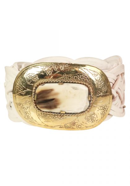 Braided Leather Belt White/Gold