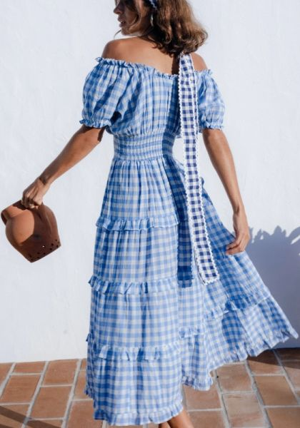 Rah Rah Midi Dress Cornflower Gingham