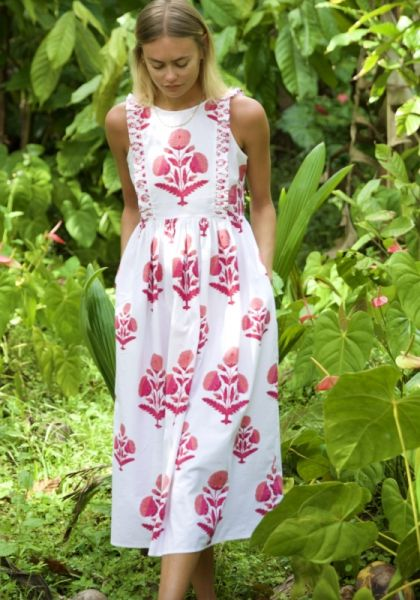 Pink City Prints Botanical Dress Rose Marigold