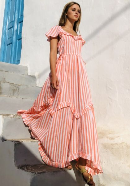Pink City Prints Madrid Dress Peach Stripe