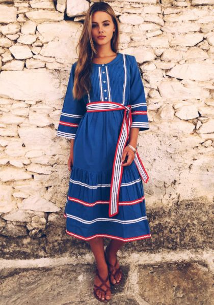 Pink City Prints Prairie Midi Dress Blue