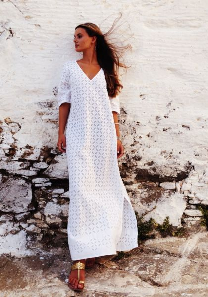 Pink City Prints Santorini Dress White