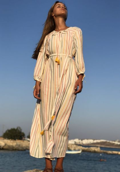 Pink City Prints Nomad Long Dress Rainbow Stripe