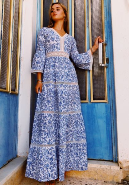 Pink City Prints Tallum Dress Chinz Sky