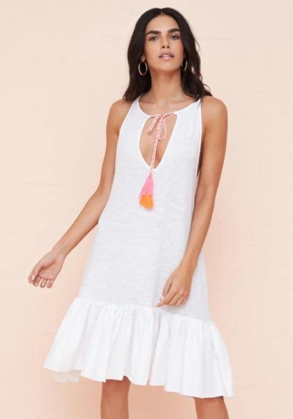 Pitusa Keyhole Tassle Tie Dress White