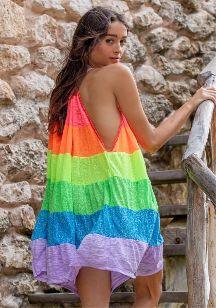 Pitusa Popsicle Halter Mini Dress Rainbow