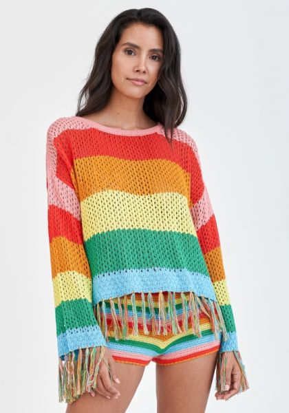 Rainbow Crochet Shorts Bright
