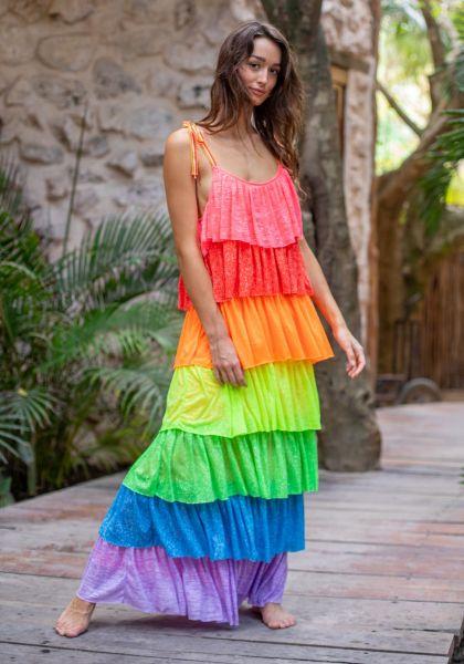 Pitusa Rainbow Tiered Dress Rainbow