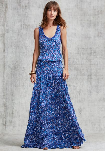 Poupette St Barth Sleeveless Bety Maxi Dress Blue Papilon