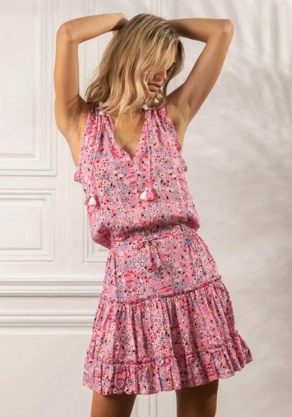 Poupette St Barth Clara Mini Dress Pink Malva