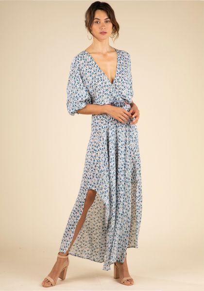 Long Ilona Dress White Bluebell