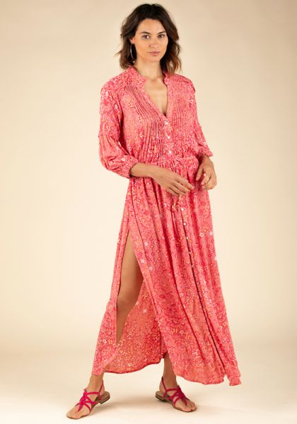 Poupette St Barth Long Ilona Dress Pink Paisley
