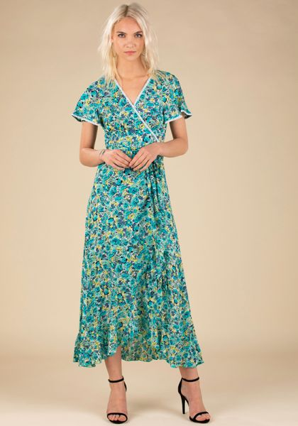 Poupette St Barth Long Joe Dress Green Rose