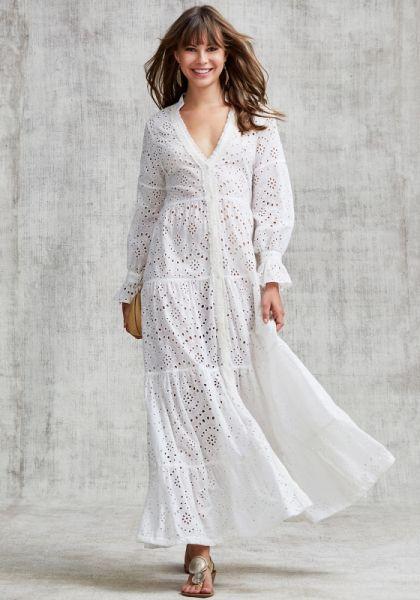 Poupette St Barth Rita Ruffle Maxi Dress White