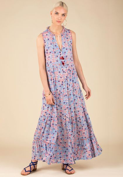 Poupette St Barth Long Clara Dress Blue Bloom