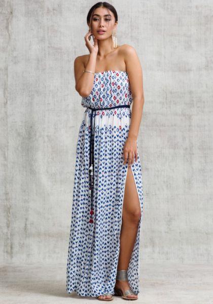 Strapless Mara Maxi Dress White Blue Geo
