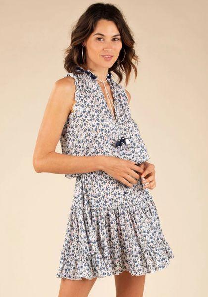 Mini Clara Dress White Blue