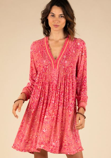 Poupette St Barth Mini Ola Long Sleeve Dress Pink Paisley