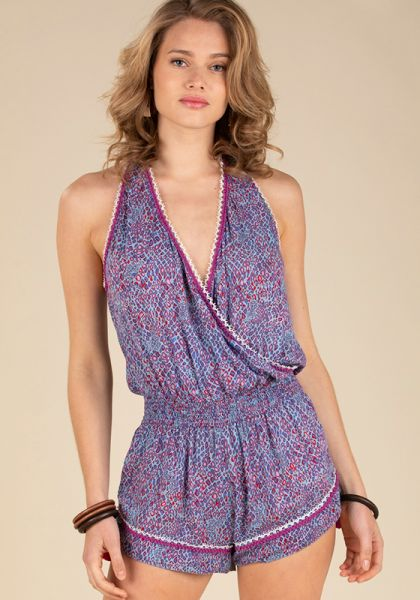 Poupette St Barth Short Sleeveless Jena Jumpsuit Blue Wild