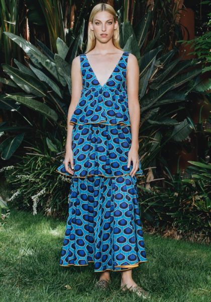 Rhode Resort Leela Dress Blue Ikat