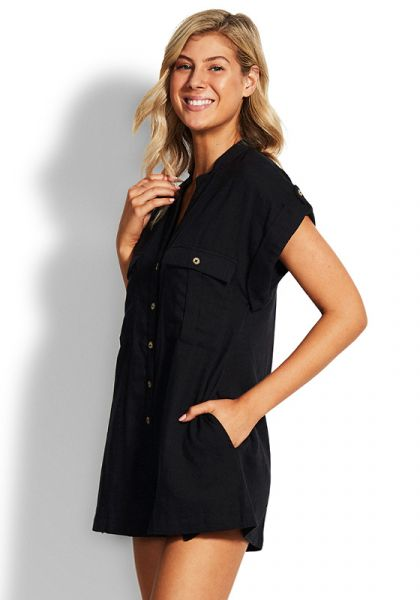 Seafolly Gardenia Playsuit Black