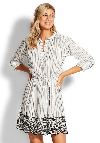 Seafolly Stripe Broderie Cover Up Black