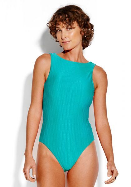 Seafolly La Luna High Neck Swimsuit Blue